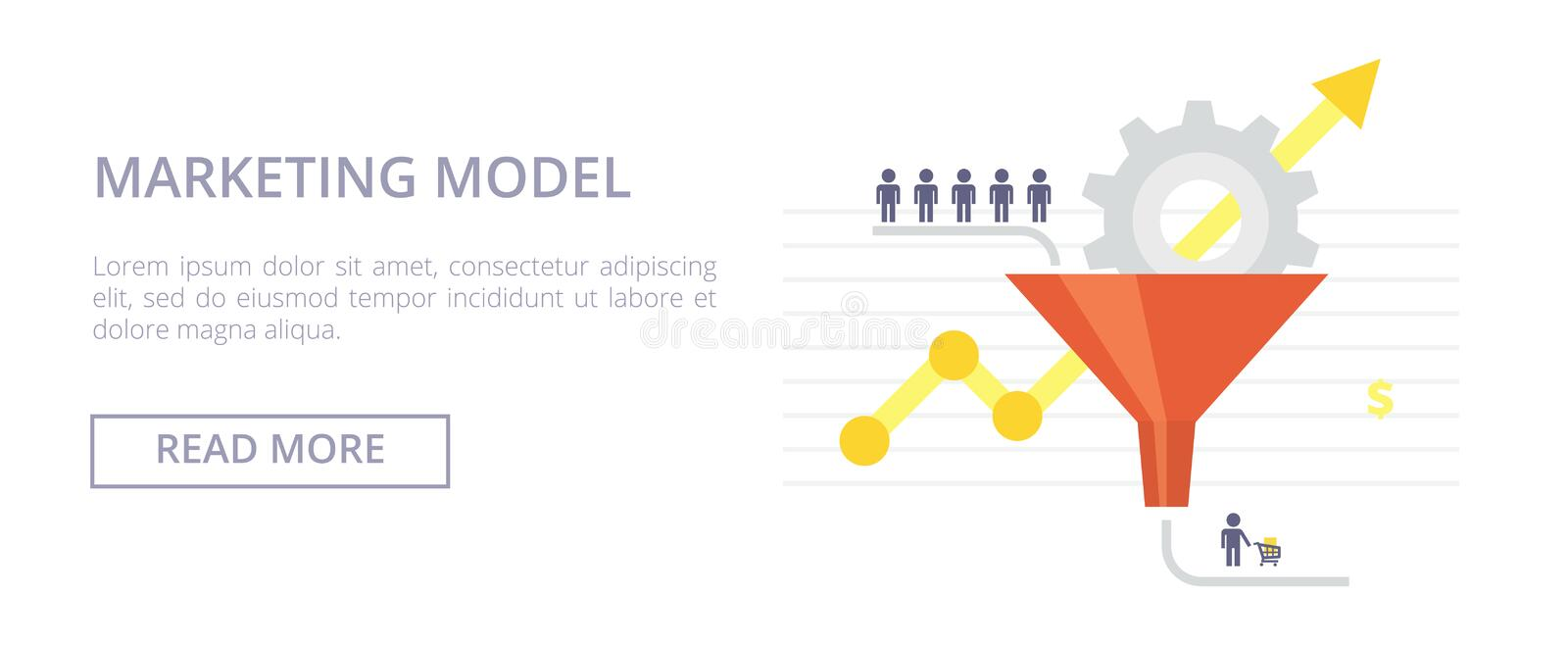 Marketing Model flat illustration. Concept with sales funnel and flow of customers. Marketing Model horizontal banner with sales funnel and flow of customers stock illustration