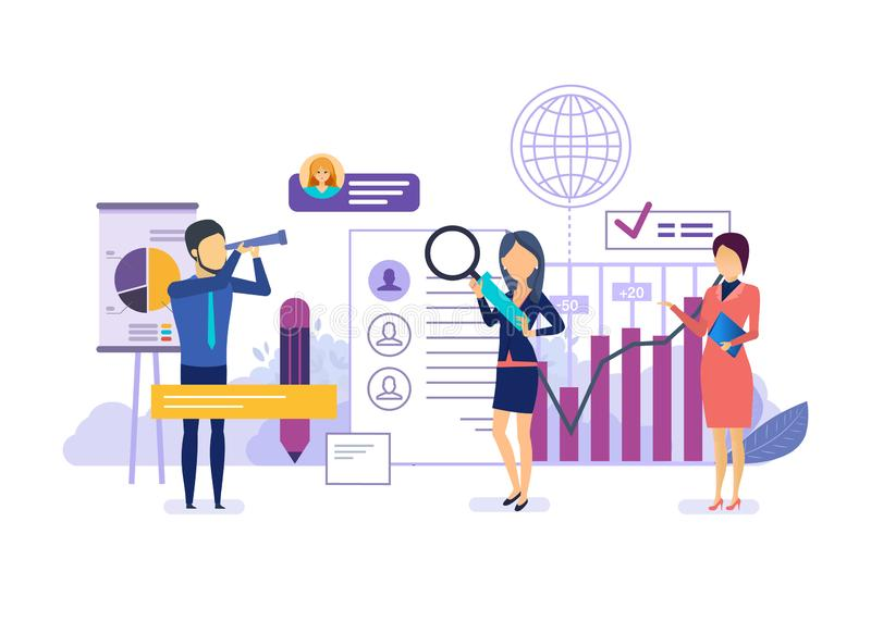 Marketing onderzoek, financiële analyse en statistieken van indicatoren, sociale netwerken vector illustratie