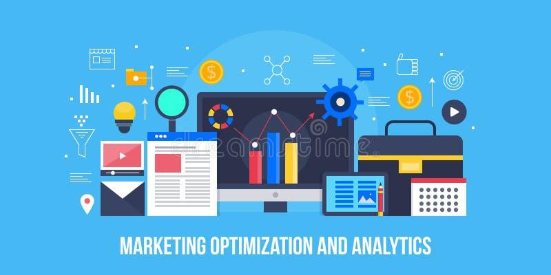 Marketing optimalisering, gegevensanalyse, onderzoek, informatie, rapportering, bedrijfsstrategie planningsconcept Vlakke ontwerp royalty-vrije illustratie