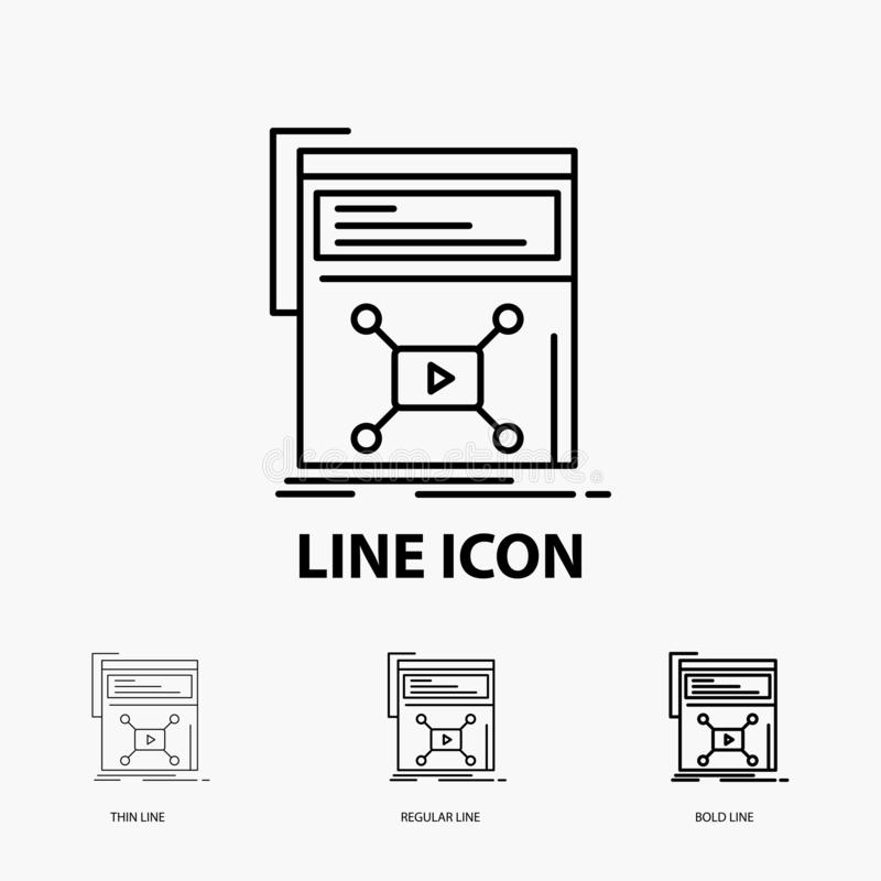 Marketing, page, video, web, website Icon in Thin, Regular and Bold Line Style. Vector illustration vector illustration