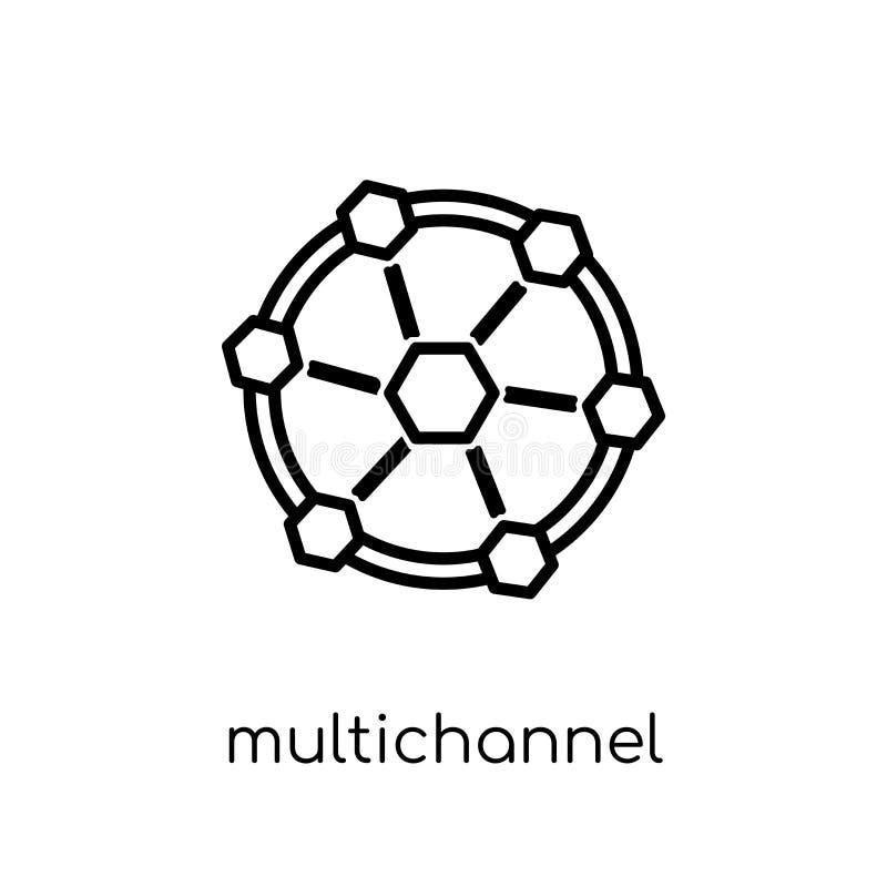 Marketing pictogram met meerdere kanalen In moderne vlakke lineaire vectormu royalty-vrije illustratie