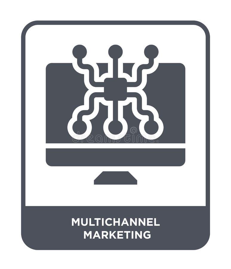 marketing pictogram met meerdere kanalen in in ontwerpstijl marketing pictogram met meerdere kanalen dat op witte achtergrond wor royalty-vrije illustratie