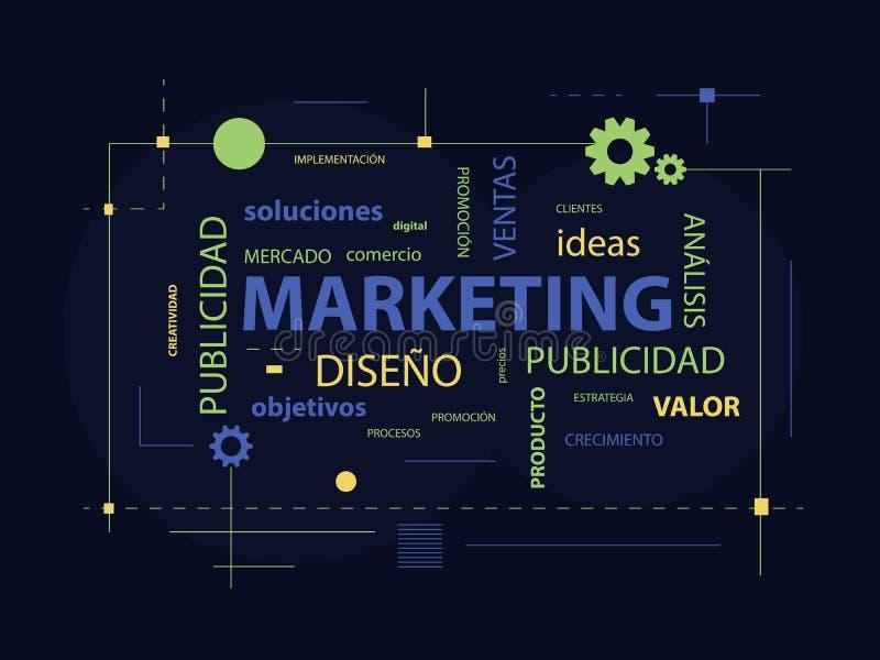 Marketing-Plakat mit Wörtern auf spanisch lizenzfreie abbildung