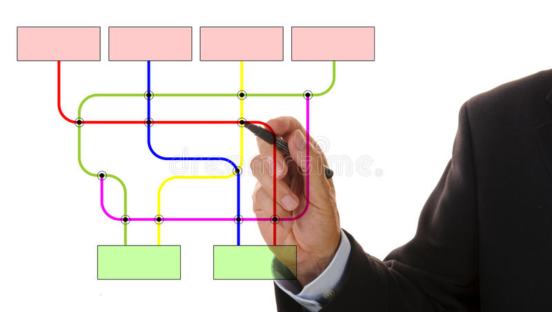 Marketing plan. Business man draws marketing structure royalty free stock images
