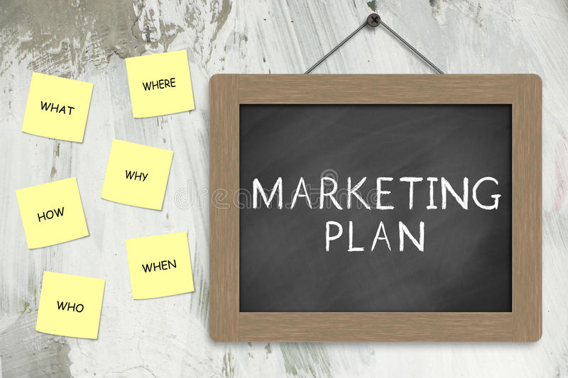 Marketing plan. Concept with questions How, Why, Who, What, Where, When stock illustration