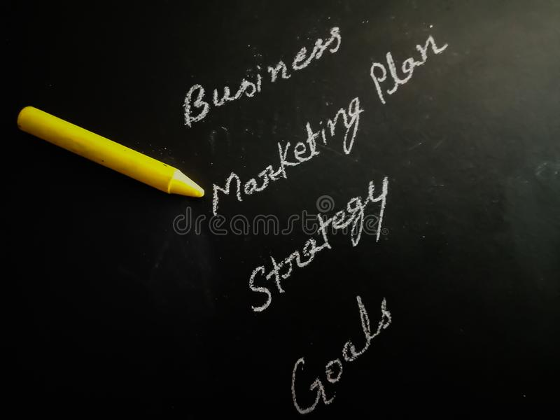Marketing plan importance displayed with bussiness strategy goal on chalkboard stock photos