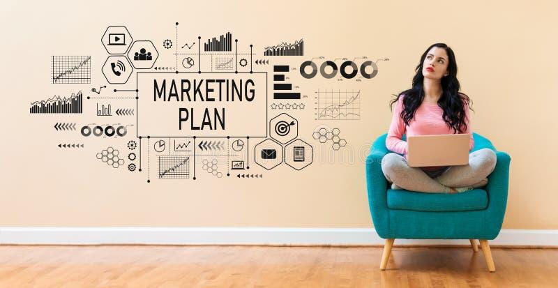 Marketing plan met vrouw die laptop met behulp van royalty-vrije stock afbeelding