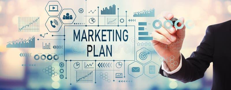 Marketing Plan met zakenman stock foto