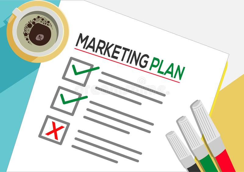 Marketing Plan or planning icon concept. One task failed. Paper sheets with check marks, abstract text and marker. stock illustration