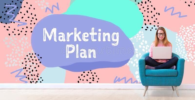 Marketing plan with woman using a laptop royalty free stock photos