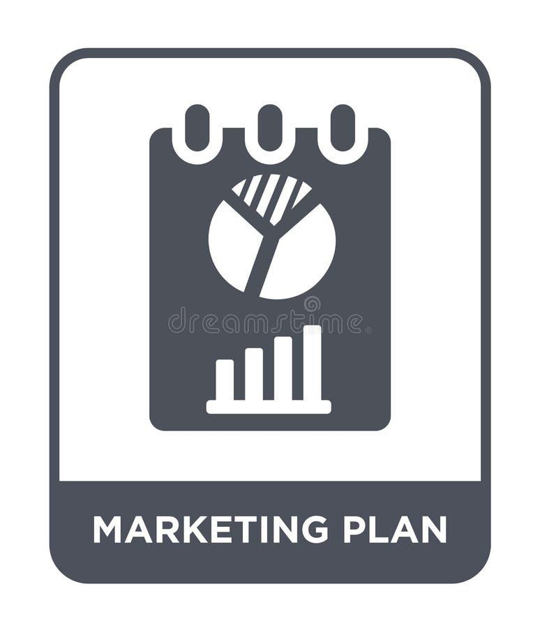 marketing planpictogram in in ontwerpstijl marketing planpictogram op witte achtergrond wordt geïsoleerd die marketing eenvoudig  vector illustratie