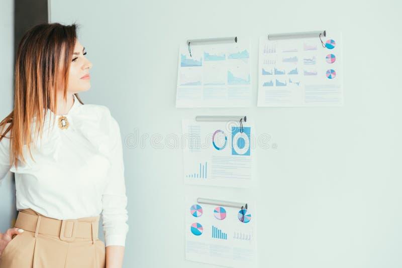 Marketing presentatie bedrijfsvrouweninfographics stock fotografie