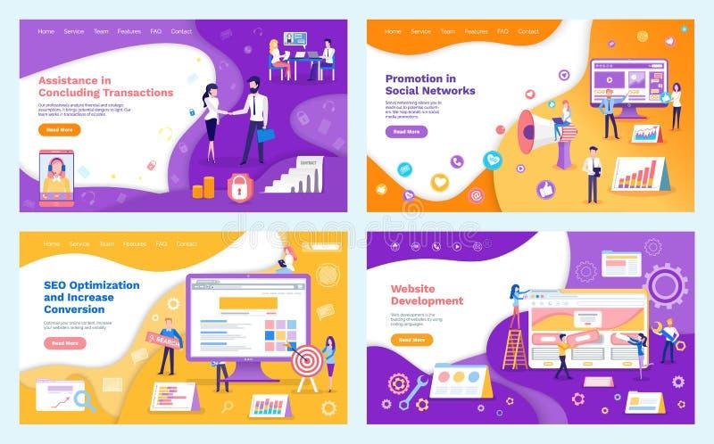 Marketing Promotion and Seo Optimization Web Set vector illustration