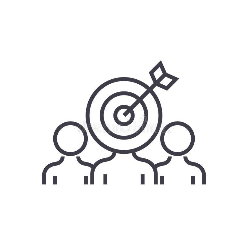 Marketing-Publikumsverpflichtungs-Vektorlinie Ikone, Zeichen, Illustration auf Hintergrund, editable Anschläge lizenzfreie abbildung