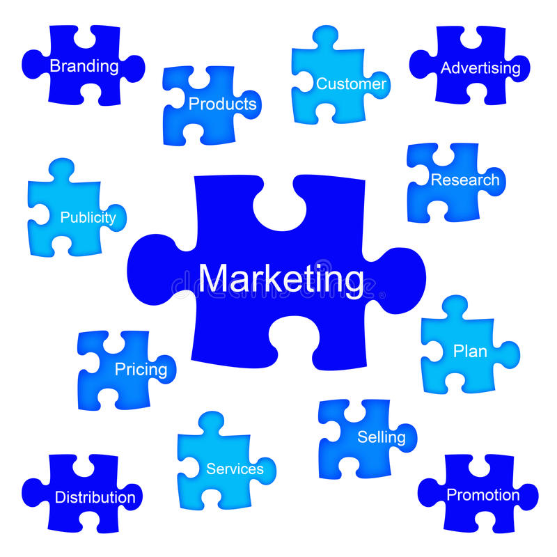 marketing pussel stock illustrationer