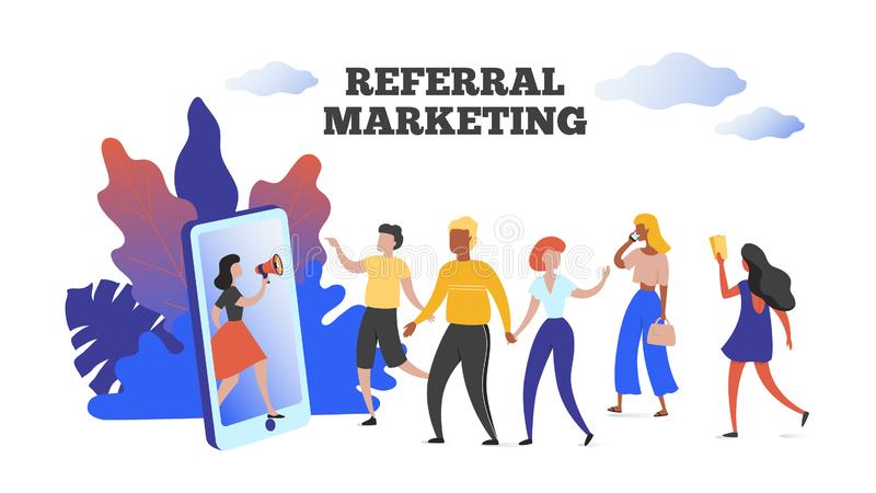 Marketing referencyjny Komunikacja ma wpływ na koncepcję reklamy. Skorzystaj z programu lojalnościowego swojego przyjaciela Wekto royalty ilustracja