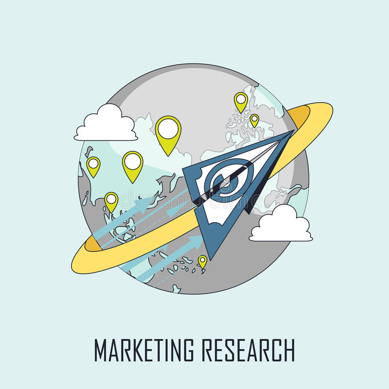 Marketing research concept. Paper plane flying around the earth in line style vector illustration