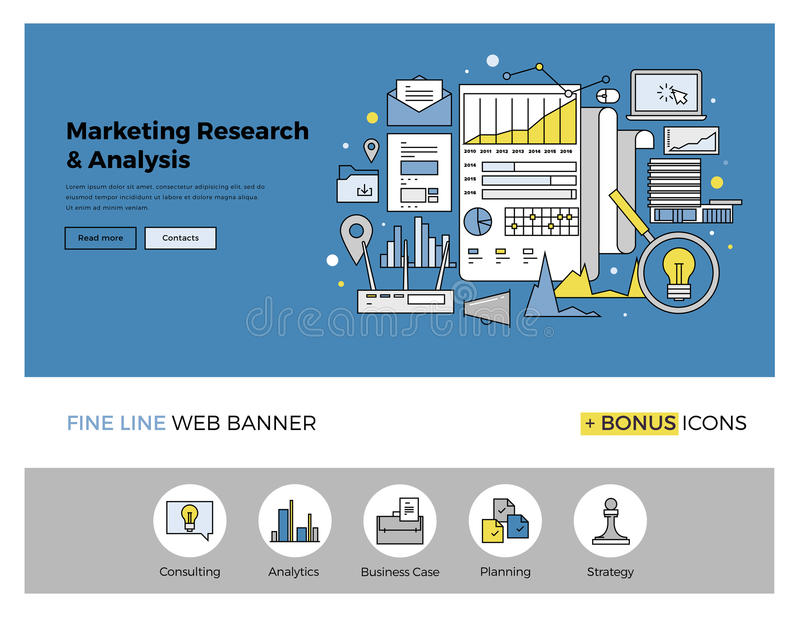 Marketing research flat line banner. Flat line design of web banner template with outline icons of marketing research strategy, web business analytics, finance stock illustration