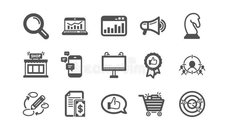 Marketing, research icons. Strategy, Feedback and Advertising agency. Classic icon set. Vector. Marketing, research icons. Strategy, Feedback and Advertising stock illustration