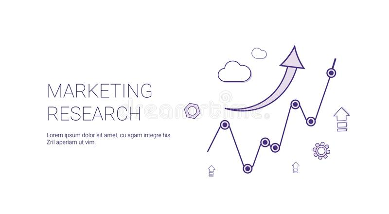 Marketing Research Web Banner With Copy Space Business Strategy Concept vector illustration