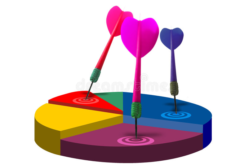 Marketing sales graph. Typical sales or progress graph with darts and bullseye