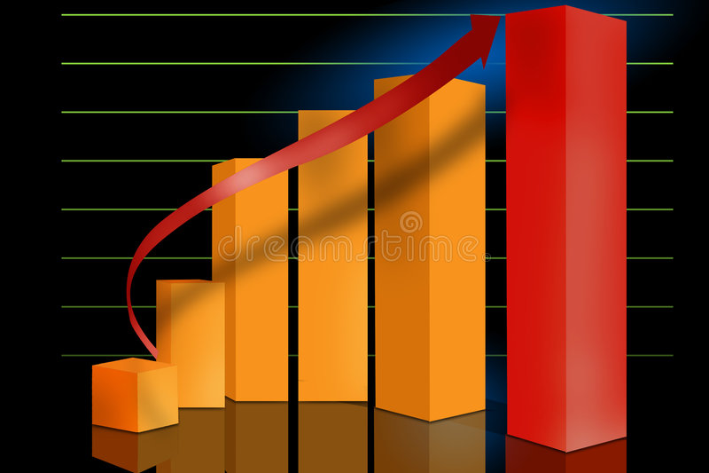 Marketing sales graph. Typical sales or progress graph set on a grid with reflections