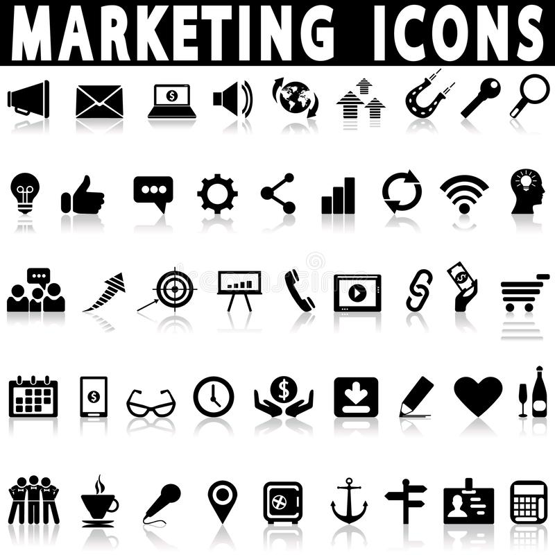 Marketing and sales icons, signs, vector illustrations. On a white background with shadow royalty free illustration