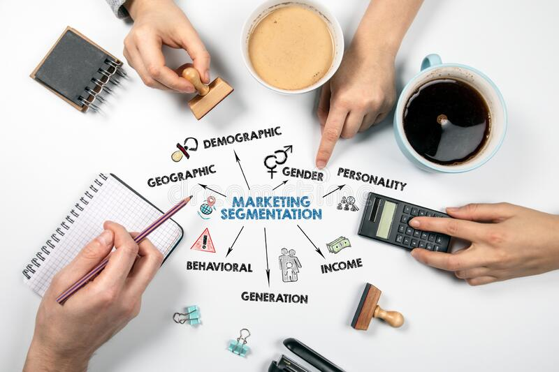 MARKETING SEGMENTATION. Geographic, demographic, income and generation concept. Chart with keywords and icons. Meeting, planning, campaign and discussion royalty free stock image