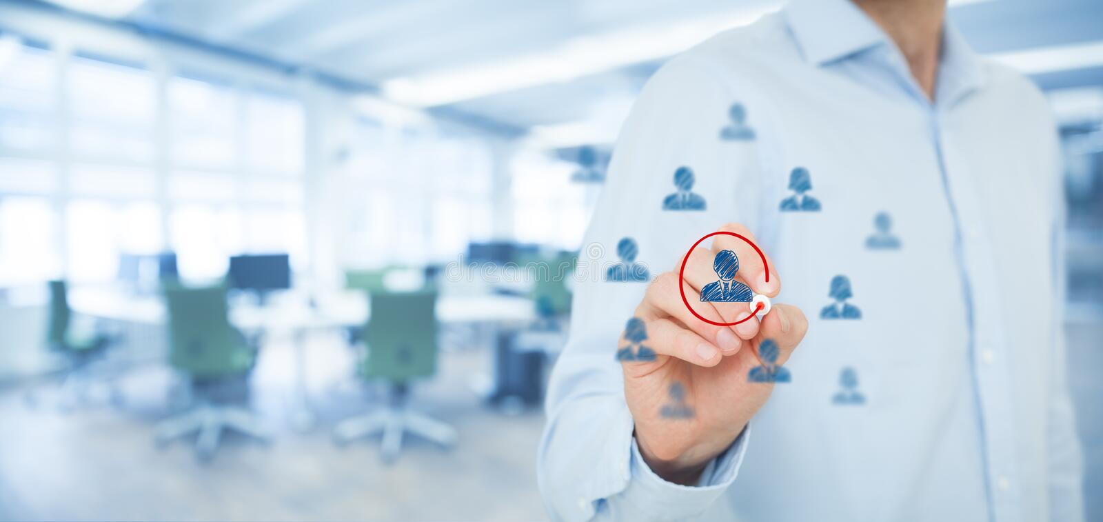 Marketing segmentation and leader. Marketing segmentation and targeting, personalization, individual customer care (service), CRM and leader concepts. Human stock image