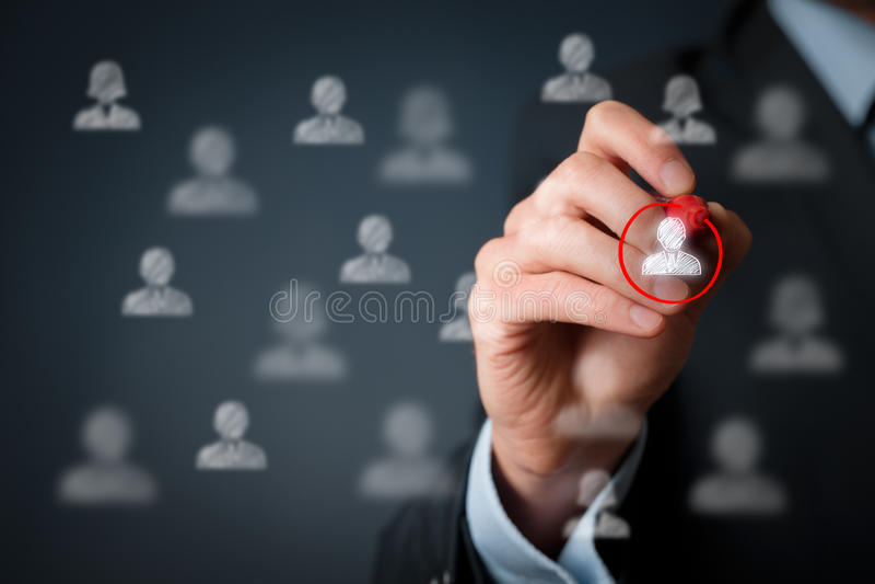 Marketing segmentation and leader. Marketing segmentation and targeting, personalization, individual customer care (service), customer relationship management ( royalty free stock photo