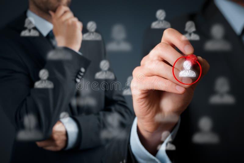 Marketing segmentation and leader. Marketing segmentation and targeting, personalization, individual customer care (service), customer relationship management ( royalty free stock photography
