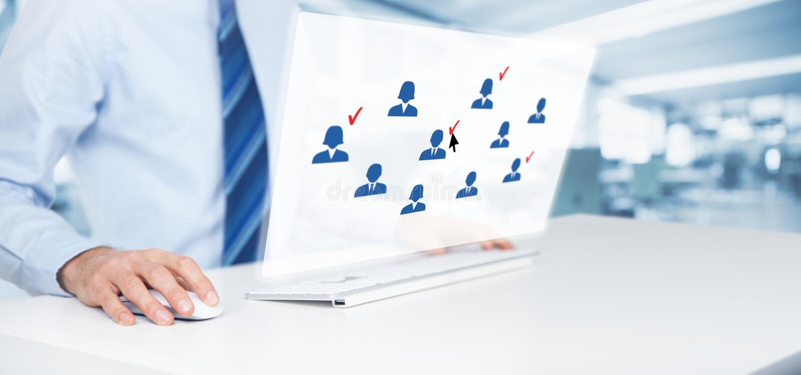 Marketing segmentation. Target audience, customers care, customer relationship management (CRM), human resources and customer analysis concepts. Businessman stock photos