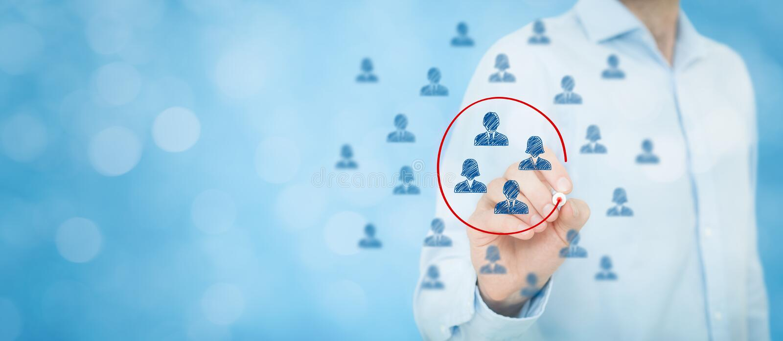 Marketing segmentation. Target audience, customers care, customer relationship management (CRM), human resources, customer analysis and focus group concepts royalty free stock photography