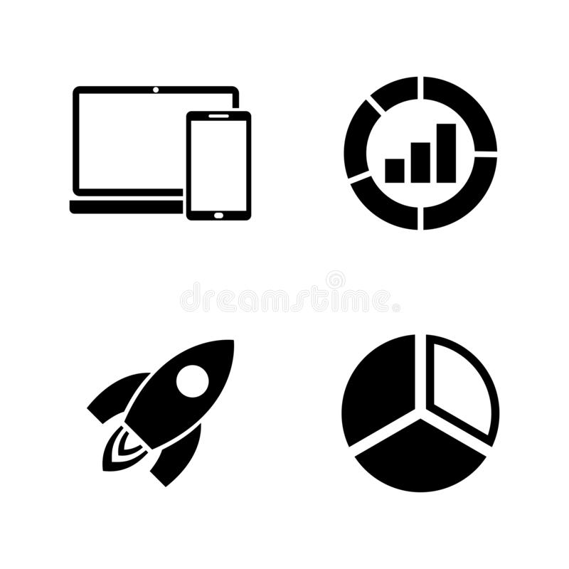 Marketing, SEO. Simple Related Vector Icons stock illustration