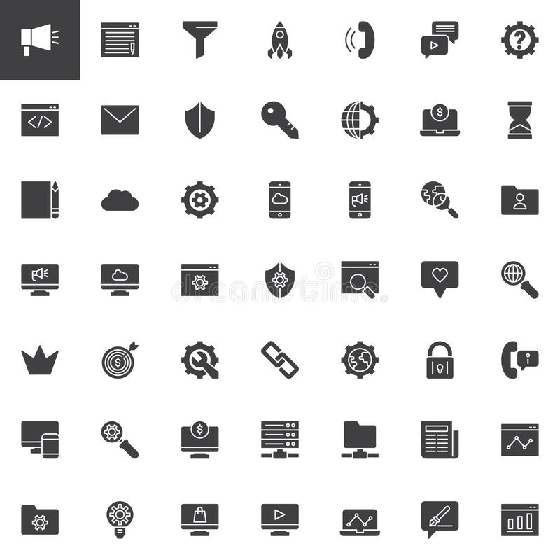 Marketing and SEO vector icons set royalty free illustration