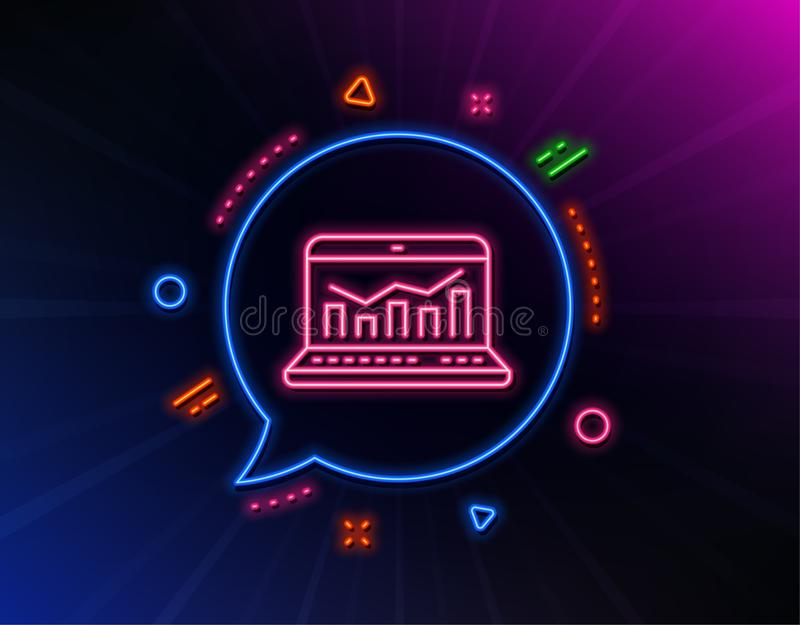 Marketing statistics line icon. Web analytics symbol. Vector. Marketing statistics line icon. Neon laser lights. Web analytics symbol. Laptop or Notebook sign vector illustration