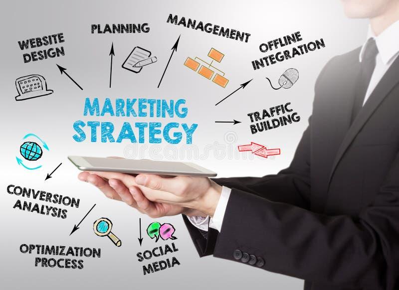 Marketing Strategie Bedrijfsconcept, jonge mens die een tablet houden stock afbeeldingen