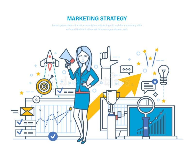 Marketing Strategie Strategie planning, statistische analyse, projectleiding, marktonderzoek royalty-vrije illustratie