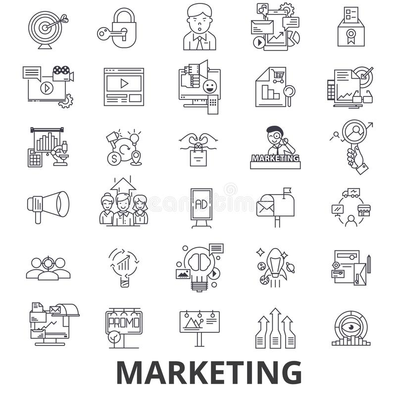 Marketing, marketing strategie, reclame, zaken, het brandmerken, sociale media lijnpictogrammen Editableslagen Vlak Ontwerp vector illustratie