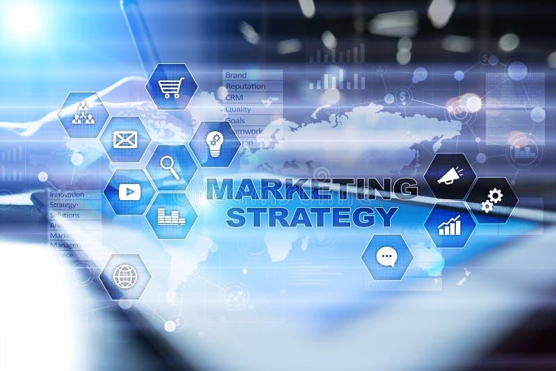Marketing strategieconcept op het virtuele scherm Internet, reclame en digitaal technologieconcept De groei van de verkoop royalty-vrije stock foto's