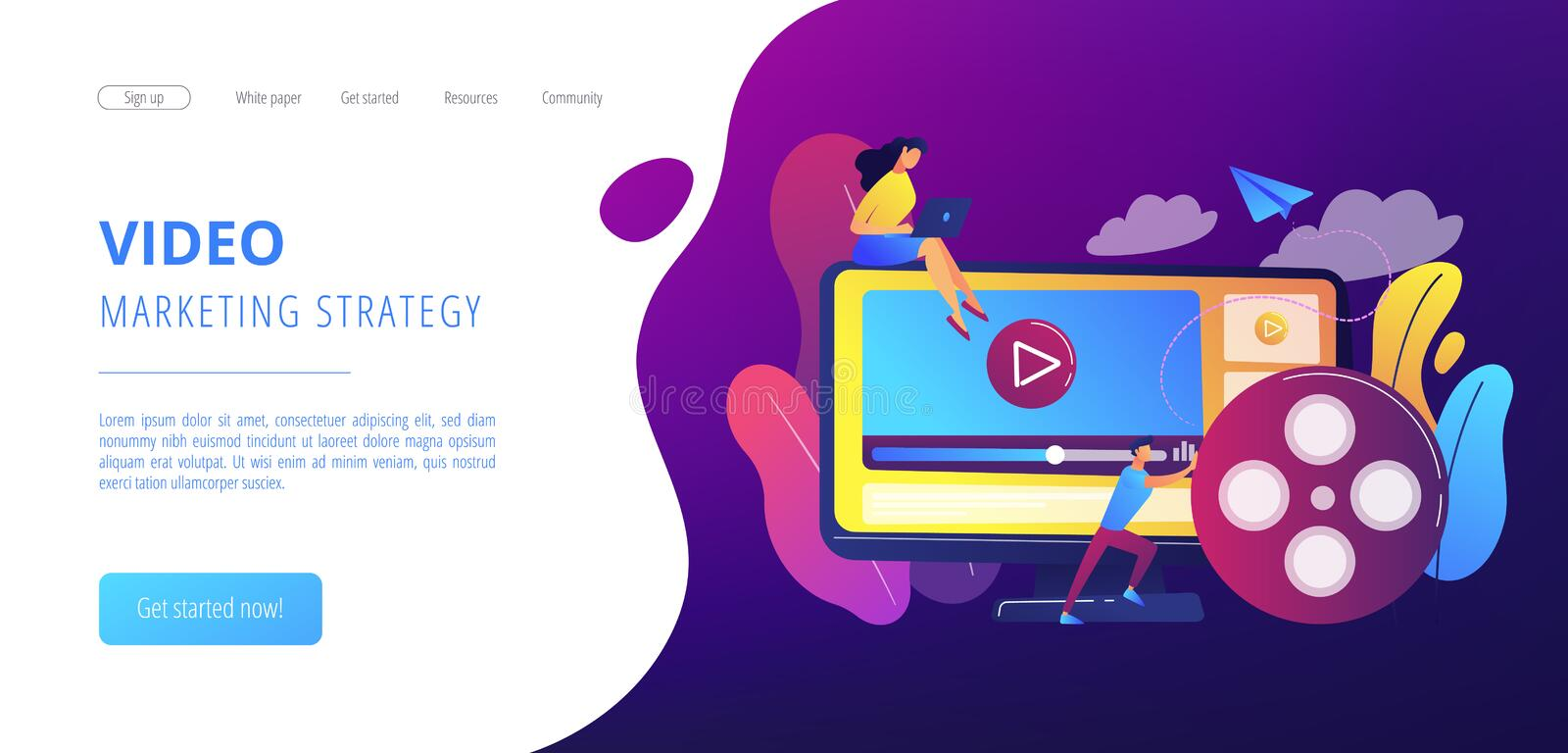 Video content marketing concept landing page. stock illustration