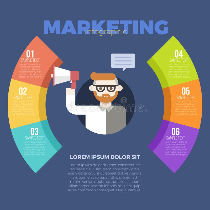 Marketing infographic template. Marketing strategy with businessman holding megaphone infographic template stock illustration