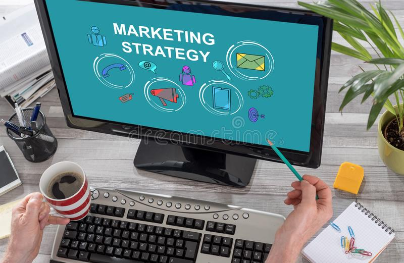 Marketing strategy concept on a computer. Screen royalty free stock images