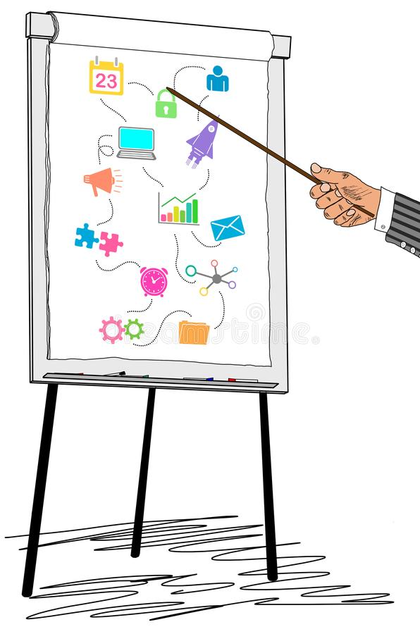 Marketing strategy concept drawn on a flipchart. Hand showing marketing strategy concept on a flipchart stock images