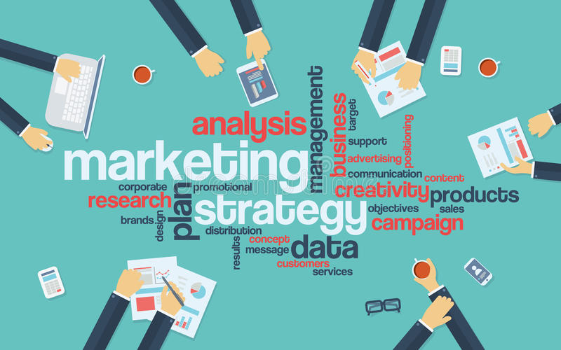 Marketing strategy concept infographics. Word royalty free illustration