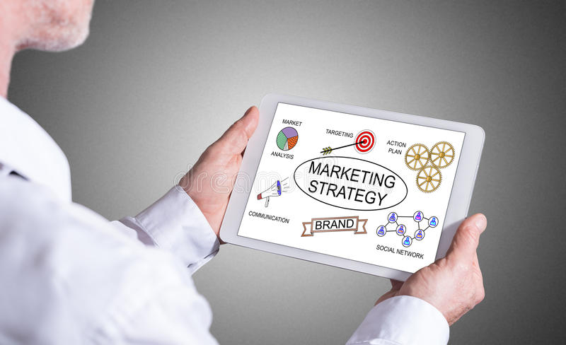 Marketing strategy concept on a tablet stock image