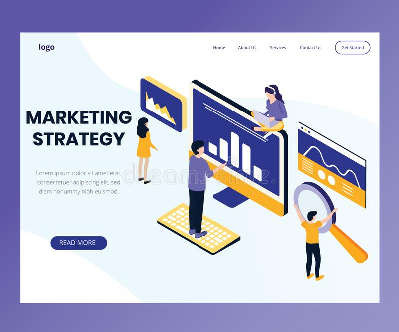 Marketing Strategy design Where people are working Isometric Artwork Concept royalty free illustration