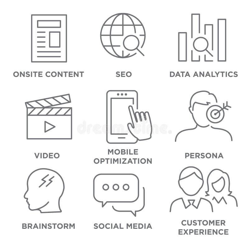 Marketing Strategy Icon Set stock illustration