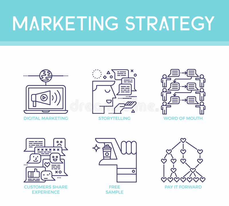 Marketing strategy illustration icons. In business concept in modern line style royalty free illustration