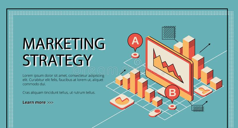 Marketing strategy landing page, database diagram. Marketing strategy landing page on retro colored background. Tablet screen with database diagram graph and royalty free illustration